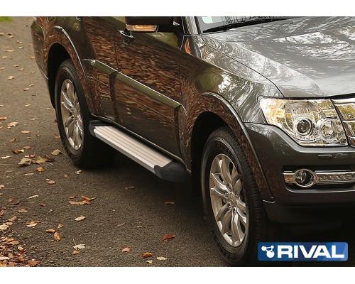 "Пороги алюминиевые Rival ""Silver"" для Mitsubishi Pajero IV 2006-"