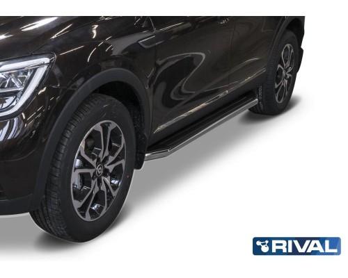 """Пороги алюминиевые Rival """"Premium"""" для Renault Arkana 2019-"""