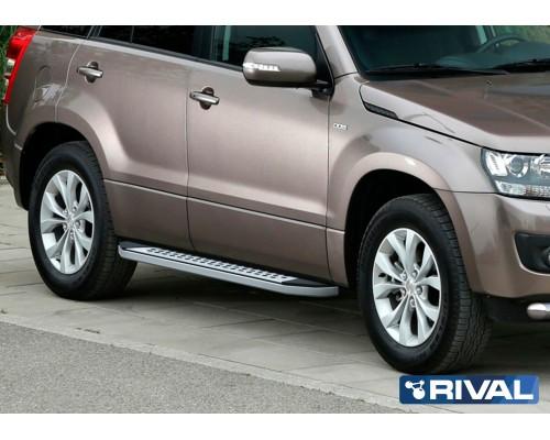 "Пороги алюминиевые Rival ""Premium-Bmw-Style"" для Suzuki Grand Vitara 2005-2016"