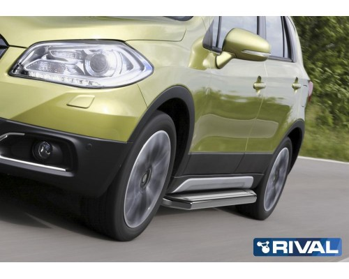 "Пороги алюминиевые Rival ""Premium"" для Suzuki SX4 2015-"