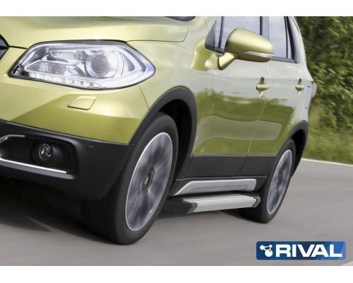 "Пороги алюминиевые Rival ""Silver"" для Suzuki SX4 2015-"